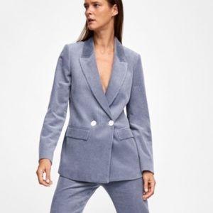 Zara blue grey corduroy double breasted blazer